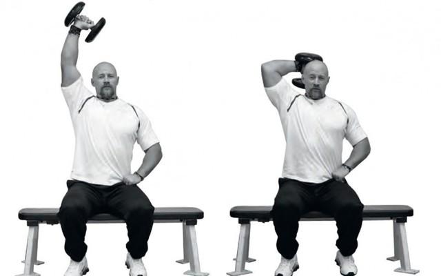 Жим штанги из-за головы: видео и фото упражнения